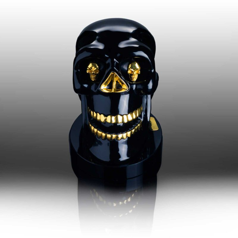 SCU9060-BR Skull Sculpture Brass (Front), designed by Steve Soffa