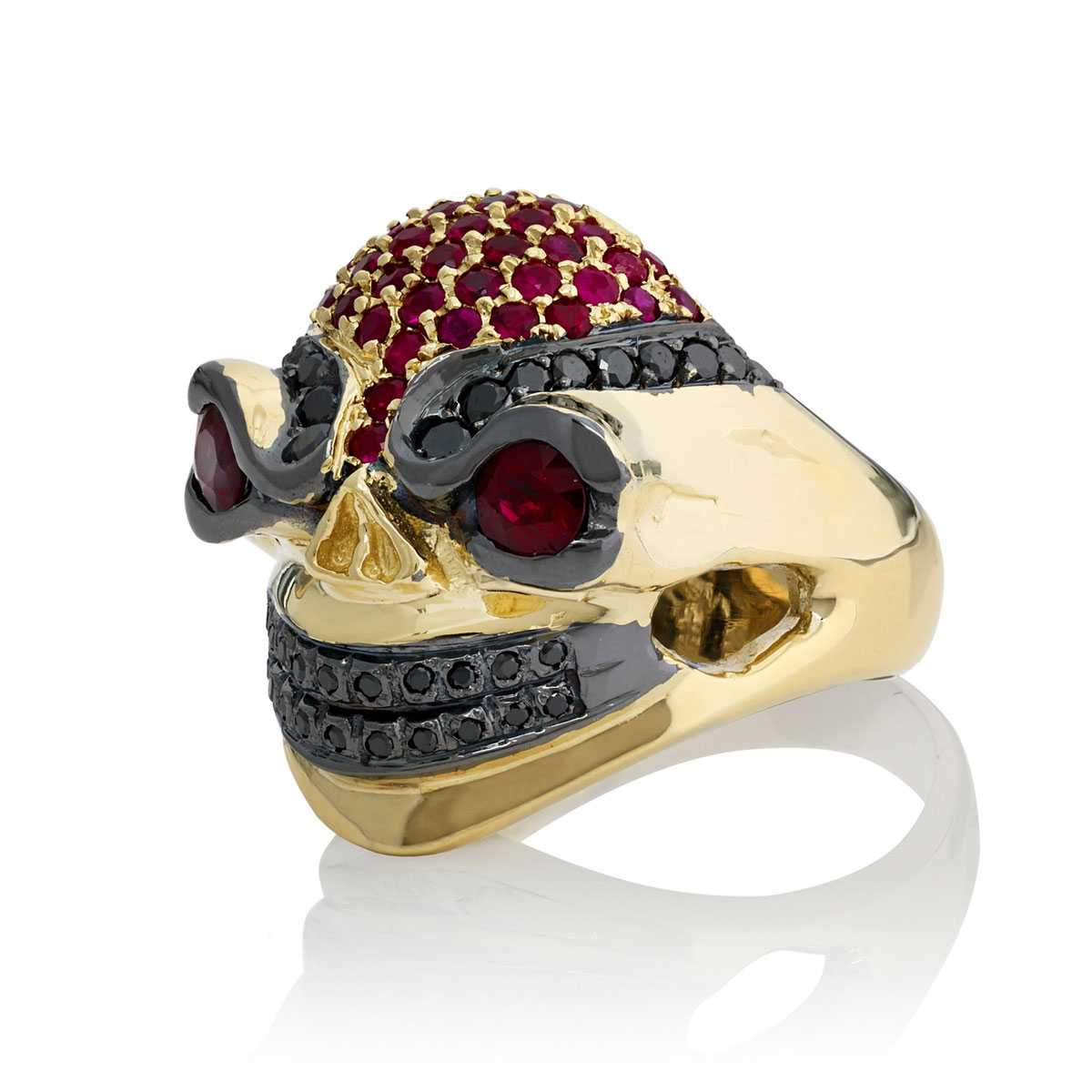 Poisonous Pegasus Ladies Skull Ring In White Gold With