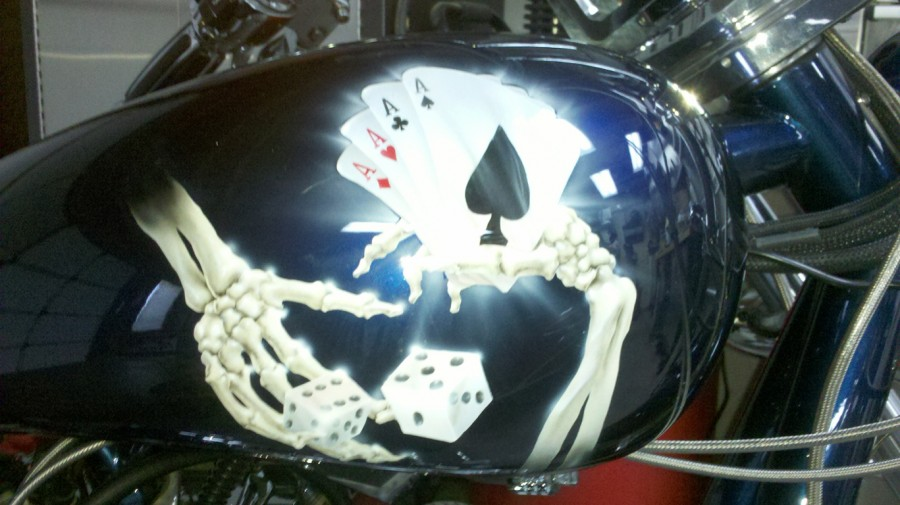 "(1) The Inspiration: ""Aces"" Custom artwork on collector's motorcycle"