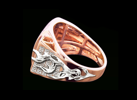 "(2) ""Flaming Diamond"" Custom Ring - Side View"