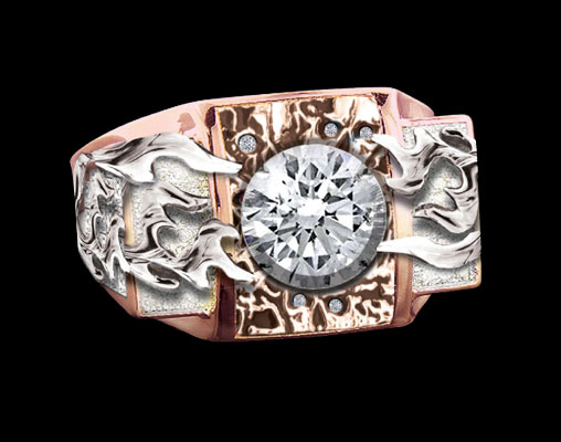 "(1) ""Flaming Diamond"" Custom Ring - Front View"
