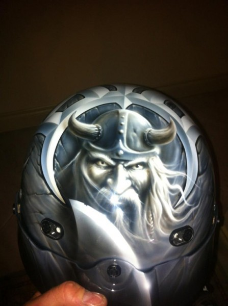 (1b) The inspiration: Viking artwork design on collector's motorcycle helmet