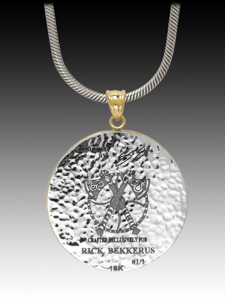 "(5) The final: ""Viking"" medallion - back engraving"