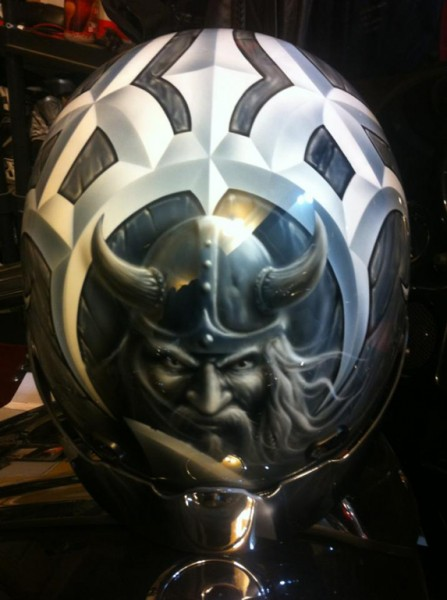 (1a) The inspiration: Viking artwork design on collector's motorcycle helmet
