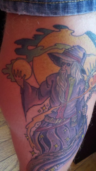 "(1b) The inspiration: The collector's ""Wizard"" body art (detail 2)"